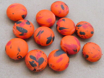 12 Orange Black Red 18mm Coin Shaped Acrylic  Beads(G27i59)