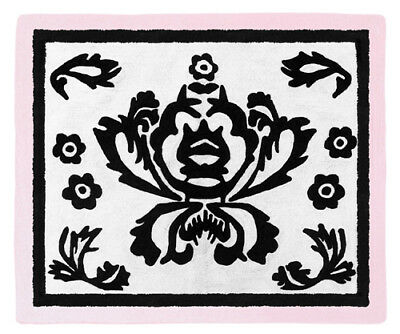 Girl Baby Kid Teen Floor Rug for Sweet Jojo Design Sophia Pink Black Bedding Set