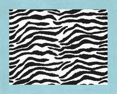 Baby Kids Teen Room Floor Rug for Sweet Jojo Turquoise & Zebra Print Bedding Set