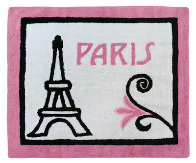 Sweet Jojo Designs Baby Kid Floor Rug For Pink Black And White Paris Bedding Set