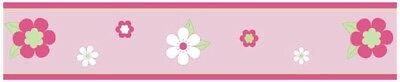 Sweet Jojo Design Pink Green Flower Baby Kid Wall Paper Border Room Wallcovering
