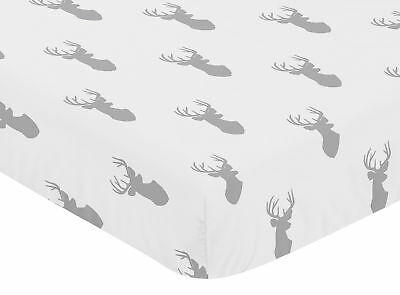 Fitted Crib Or Toddler Sheet For Sweet Jojo Grey And White Woodland Deer Bedding
