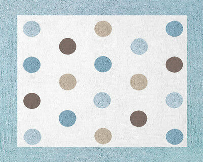 Girl Boy Baby Kid Teen Floor Rug for Sweet Jojo Blue and Brown Dots Bedding Set