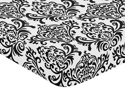 Sweet Jojo Designs Black White Isabella Crib Toddler Fitted Sheet - Damask Print