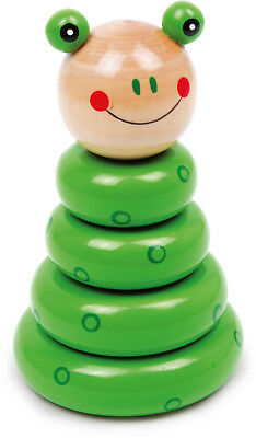 Insert Frog Wood Pegging Game Stacking Tower Motor Skill Height: ca. 13 cm NEW