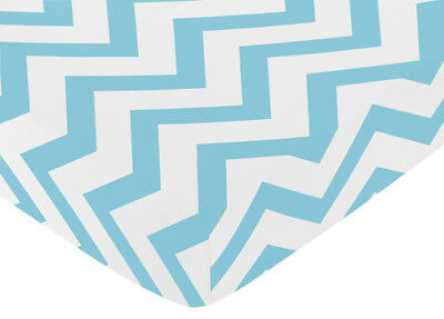 Fitted Crib Toddler Sheet For Jojo Turquoise And White Bedding - Chevron Print
