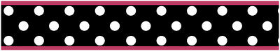 Sweet Jojo Pink Black White Polka Dot Baby Kids Wall Paper Border Wallcovering