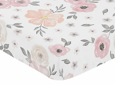 Sweet Jojo Baby Crib Toddler Fitted Sheet For Pink Watercolor Bedding - Floral