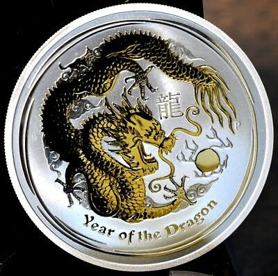2012 Australia Year Of The Dragon 1 oz Silver Gold Gilded - With Box & Coa