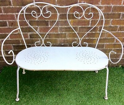 French Antique Style Wrought Iron Garden Bench Outdoor Decorative Love Seat