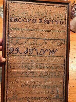 """Antique sampler 1825 Montgomery Mary Jane Telford  8 years 2 months  13"""" x 8"""""""