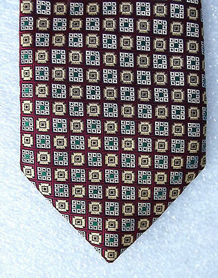 Vintage check tie DUNNS burgundy patterned tie c 1970s washable