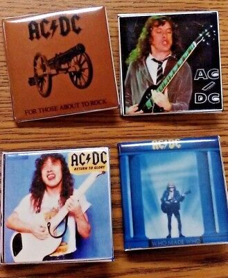 """(Lot Of 4)  Ac/dc Small Square 1 1/2"""" Pins Great Condition Collectibles"""
