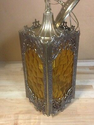 Antique Vintage Brass And Amber Swag Glass Gothic Chandelier