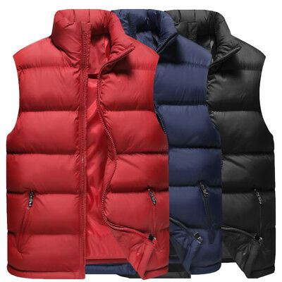 Mens Winter Warm Down Sleeveless Waistcoat Jacket Outwear Puffer Vest Short Coat