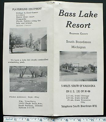 1940s+ Brochure Bass Lake Resort Cabins, South Boardman Kalkaska Co., Michigan