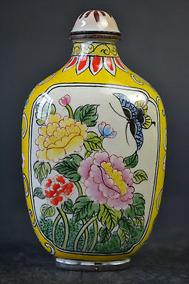Vintage Collectible Old Cloisonne Colored Drawing Fine Yellow Snuff Bottle