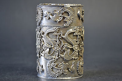 Collectible China Handmade Tibet Silver Dragon Phoenix Old Toothpick Box