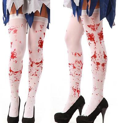 Halloween Girls Knee High Socks Blood Printed Stockings Over The Knee cosplay H1
