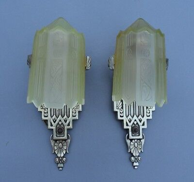 Pair of 1930s ART DECO Lincoln Mfg Wall Sconces + Consolidated Glass Slip Shades