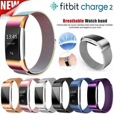 Metal Stainless Steel Magnetic  Milanese Loop Watch Band Strap F Fitbit Charge 2