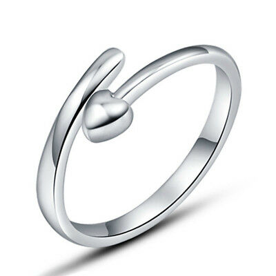 925 Silver Plated Opening Ring Love Simple Rings Sz 7 Finger Band Heart Girls