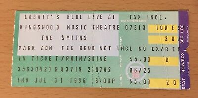 1986 The Smiths Toronto Concert Ticket Stub Morrissey The Queen Is Dead Tour