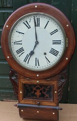 Old Large Wooden Inlaid Wall Clock With Great Looking Case To Tidy Up