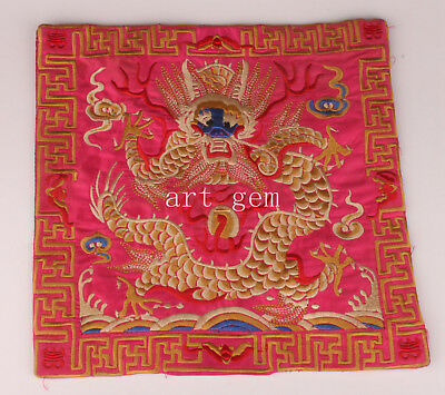 Silk Pillowcase Embroidery Dragon Festival Red Decorative Gift Collection