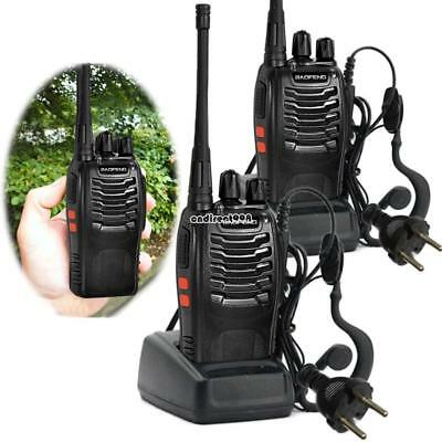 2pcs BF-888S Walkie Talkie UHF 400-470MHZ 2Way Radio 16CH 5W+Charger+Earpiece