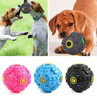 Pet Dog Tough Treat Training Chew Sound  Squeaky Giggle Ball Activity Toy