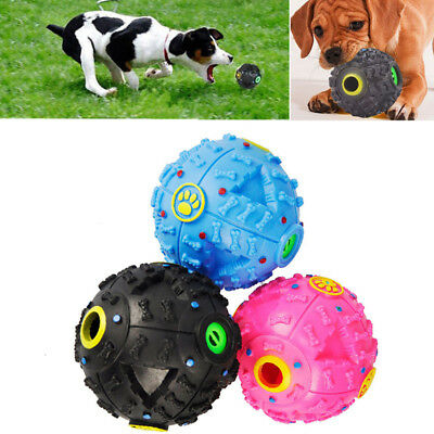 Black Pet Dog Tough Treat Training Chew Sound Activity Toy Squeaky Giggle Ball