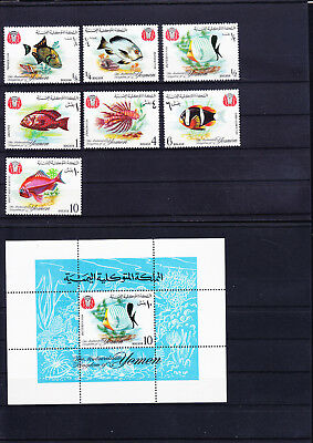 053605 Fische Fish Yemen Kingdom 323-29 A + Block 39 ** MNH Year 1967