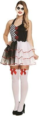Ladies Evil Harlequin Jester Halloween Horror Fancy Dress Costume Outfit 8-12
