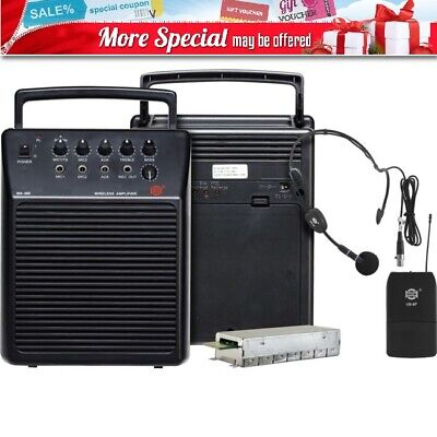 Show Wa380/ub8P Uhf Portable Pa System With Headset Mic Black Colour