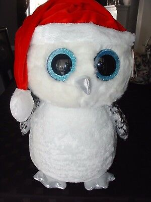 """Large 17"""" Ty Beanie Boos Plush Tinsel The Snowy Christmas Owl Gift Present Toy"""