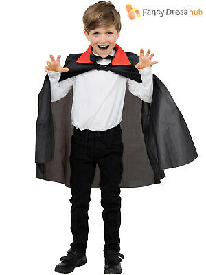 Boys Dracula Cape Halloween Childs Vampire Cloak Fancy Dress Costume Accessory