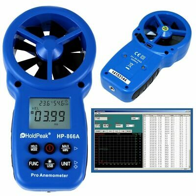 Digitales Flügelrad Anemometer HP-866A USB Windmessgerät Windmesser Thermometer