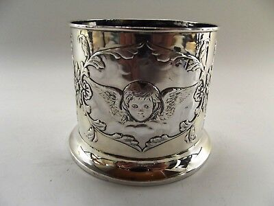 Antique Silver Bottle Coaster London 1899 With Embossed Cherubs Ref 233/5