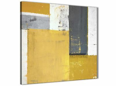 Mustard Yellow Grey Abstract Painting Canvas Art Print - 49cm Square - 1s340s