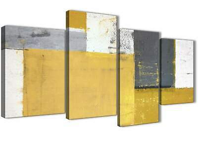 Mustard Yellow Grey Abstract Painting Canvas Print - 4 Part - 130cm Wide - 4340