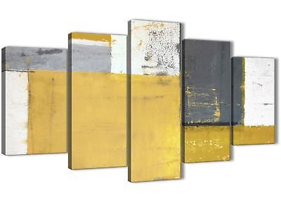 XL Mustard Yellow Grey Abstract Painting Canvas Art Print - 160cm Wide - 5340