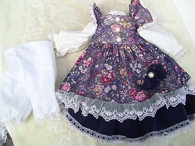 Alte Puppenkleidung Violet Flowery Dress Outfit vintage Doll clothes 45 cm Girl