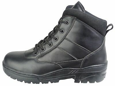 Black Full Leather Army Patrol Combat Mid Boots Cadet Security Military 916