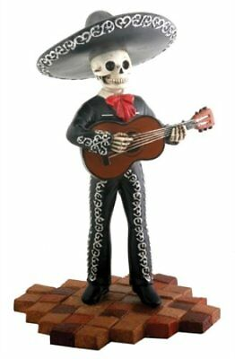Tall Black Skeleton Mariachi Band Guitar Player Day of the Dead Figurine