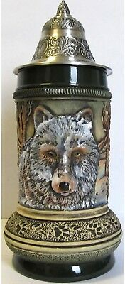 Rustic Wolf with Paw Prints LE German Beer Stein .5L Made in Germany  Thewalt