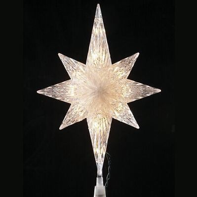White Bethlehem Star Christmas Tree Topper with 10 Lights Holiday Decoration New