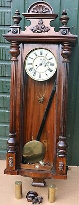 Old Large Gustav Becker Double Weighted Vienna Wall Clock To Restore
