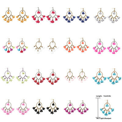 Fashion Bohemian 15 Color Retro Hook Peach Pendant Women Charm Earrings