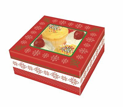 4 Christmas Food Presentation Gift Boxes Box For Cupcakes Muffin Cake Party HCAK